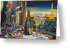 Paris At Sunset Greeting Card by Anthony Mezza