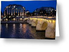 Paris Blue Hour - Pont Neuf Bridge And La Samaritaine Greeting Card