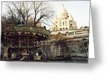 Paris Carousel Merry Go Round Montmartre - Carousel At Sacre Coeur Cathedral  Greeting Card