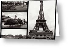 Paris Collage - Black And White Greeting Card