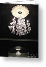 Paris Crystal Chandelier - Paris Black And White Chandelier - Sparkling Elegant Chandelier Opulence  Greeting Card