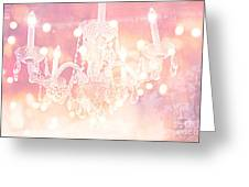 Paris Dreamy Ethereal Chandelier Art - Dreamy Pink Bokeh Sparkling Paris Chandelier Art Deco Greeting Card by Kathy Fornal