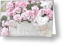Paris Pink Flowers, Parisian Shabby Chic Paris Flower Box - Paris Floral Decor Greeting Card