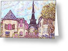 Paris Eiffel Tower Skyline Inspired Pointillist Landscape Greeting Card