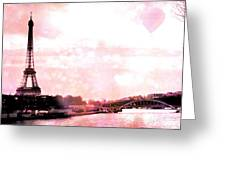 Paris Eiffel Tower Pink - Dreamy Pink Eiffel Tower With Hot Air Balloon Greeting Card