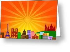 Paris France City Skyline Panorama Greeting Card