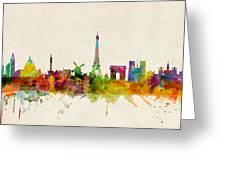 Paris France Skyline Panoramic Greeting Card