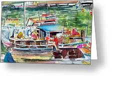 Paris House Boat Greeting Card