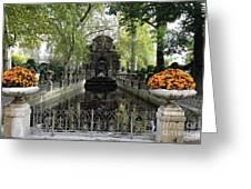 Paris Jardin Du Luxembourg Gardens Autumn Fall  - Medici Fountain Sculpture Autumn Fall Photographs Greeting Card