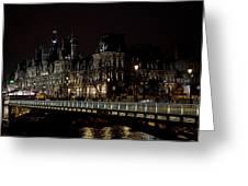 Paris Night Along The Seine Greeting Card