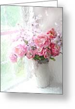 Paris Peonies Roses Shabby Chic Art - Romantic Paris Peonies And Roses Impressionistic Floral Art Greeting Card
