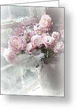 Paris Pink Impressionistic French Roses And Ranunculus - Shabby Chic Romantic Pink Flowers Greeting Card