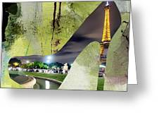 Paris Skyline In A Shoe Greeting Card