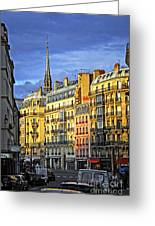 Paris Street At Sunset Greeting Card by Elena Elisseeva