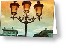 Paris Street Lamps With Textures And Colors Greeting Card