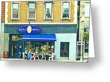Paris Style French Bistro Art Sidewalk Cafe Terrace  Antique Shop C Spandau Montreal City Paintings Greeting Card