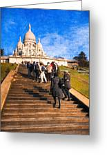 Paris - The Long Climb To Sacre Coeur Greeting Card by Mark E Tisdale