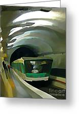 Paris Train In Fisheye Perspective Greeting Card