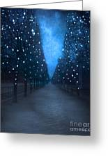 Paris Tuileries Trees - Blue Surreal Fantasy Sparkling Trees - Paris Tuileries Park Greeting Card by Kathy Fornal