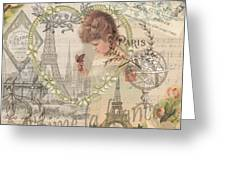 Paris Vintage Collage With Child Greeting Card