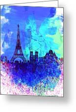Paris Watercolor Skyline Greeting Card