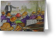 Parisian Hat Band Across From Notre Dame Cathedral Greeting Card