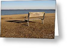 Park Bench At Sandy Point Greeting Card