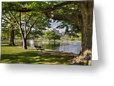 Park Bench By A Lake Greeting Card
