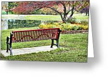Park Bench By The Pond Greeting Card