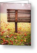 Park Bench In Autumn Greeting Card