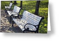 Park Benches At Portland Waterfront Park Greeting Card