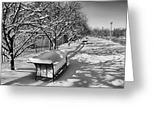 Park Benches Snow Upholstered Greeting Card