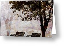 Park Benches Square Greeting Card