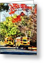 Parked School Buses Greeting Card