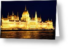 Parliament Building At Night In Budapest Greeting Card