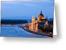 Parliament Building In Budapest At Evening Greeting Card