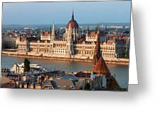 Parliament Building In Budapest At Sunset Greeting Card