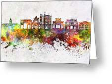 Parma Skyline In Watercolor Background Greeting Card