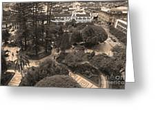Parque Calderon And The Old Cathedral In Cuenca Ecuador Greeting Card by Al Bourassa