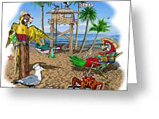 Parrot Beach Party Greeting Card