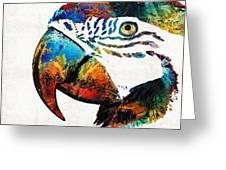 Parrot Head Art By Sharon Cummings Greeting Card