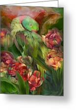 Parrot In Parrot Tulips Greeting Card