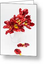 Parrot Tulips In A Milk Jug Greeting Card