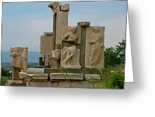 Partially Restored Fountain Of Trajan In Ephesus-turkey Greeting Card