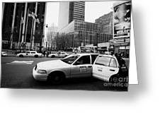 Passenger Gets Out Of Rear Door Of Yellow Taxi Cab On 7th Avenue New York City Usa Greeting Card