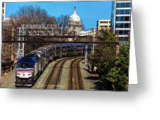 Passenger Metro Train With Us Capitol Greeting Card