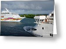 Passing Cruise Ships Greeting Card