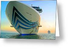 Passing Cruise Ships At Sunset Greeting Card