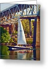 Passing Under The Bridge Photo Art Greeting Card