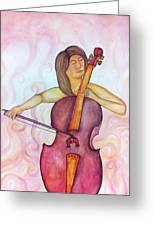 Passionate Cellist Greeting Card